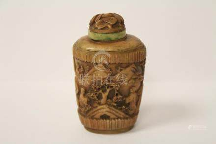 Chinese bone carved snuff bottle