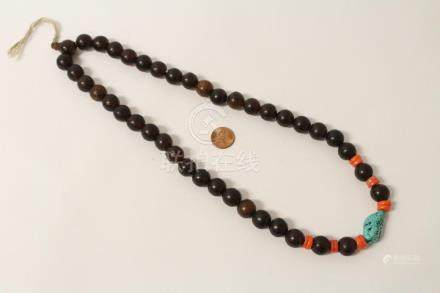 Chinese amber like bead necklace w/ coral & turquoise