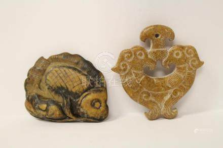 2 jade carved ornaments