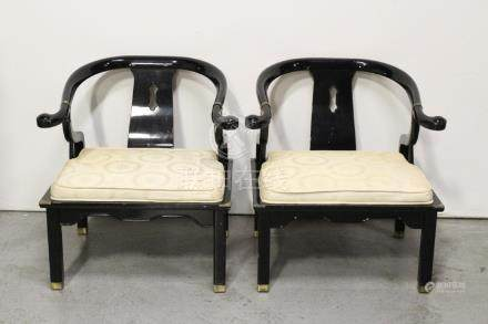Pair Chinese black lacquer chairs