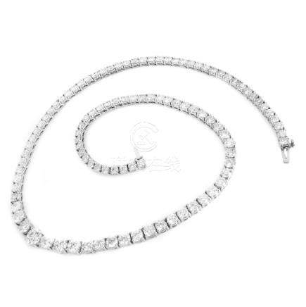 25.0ct Diamond and 18K Gold Riviera Necklace