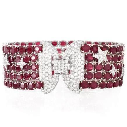 Burma Ruby, Diamond and 18K Gold Bracelet