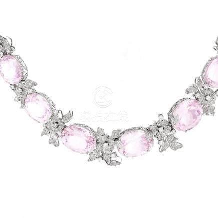 Kunzite, Diamond and 18K Gold Necklace