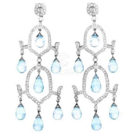 Blue Topaz, Diamond and 18K Gold Earrings