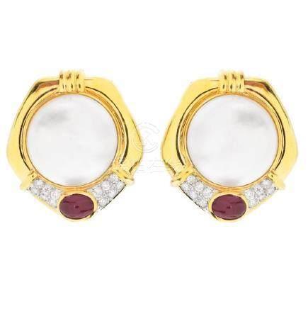 Pearl, Ruby, Diamond and 18K Gold Earrings