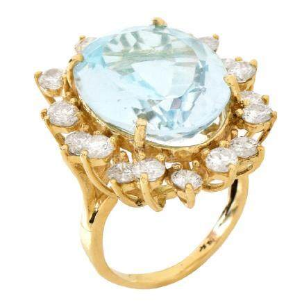 Aquamarine, Diamond and 14K Gold Ring