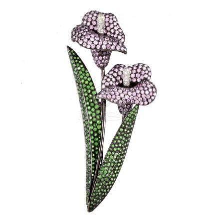 Pink Sapphire, Garnet, Diamond and 18K Flower Pin