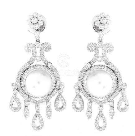 Diamond, Pearl and 18K Gold Earrings