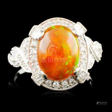 18K Gold 2.41ct Opal & 0.46ctw Diamond Ring