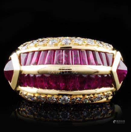 18K Yellow Gold 4.32ct Ruby & 0.79ct Diamond Ring