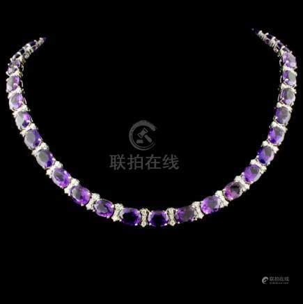 14K Gold 61.80ctw Amethyst & 2.58ctw Diamond Neckl