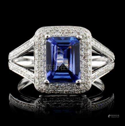 14K White Gold 1.49ct Tanzanite & 0.42ct Diamond R