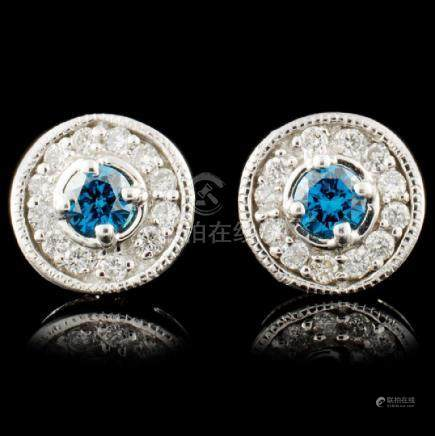 14K Gold 0.53ctw Fancy Color Diamond Earrings
