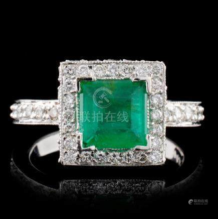 14K White Gold 1.35ct Emerald & 1.64ct Diamond Rin