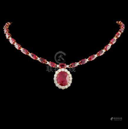 14K Rose Gold 40.16ctw Ruby & 2.33ct Diamond Neckl