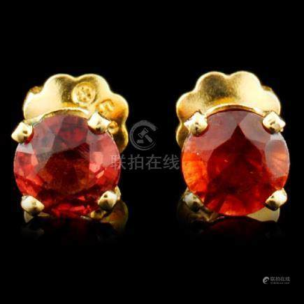 14K Gold 0.54ct Garnet Earrings