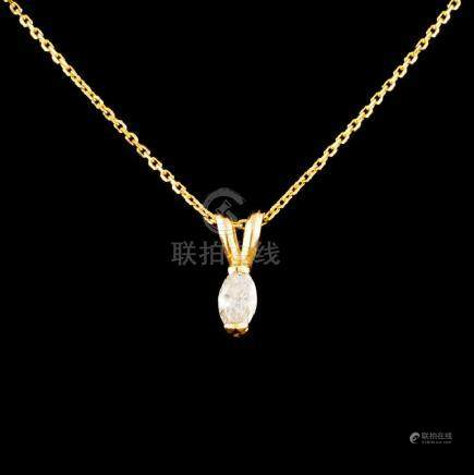 14K Gold 0.11ctw Diamond Pendant