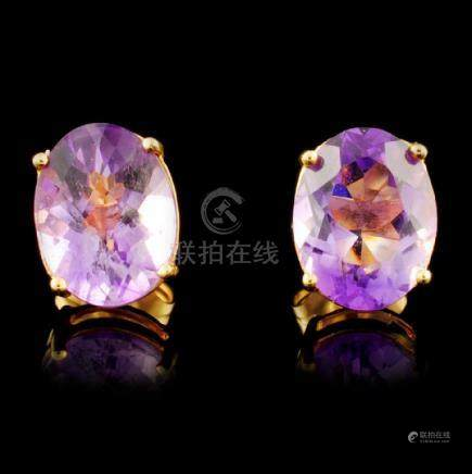 14K Gold 3.40ctw Amethyst Earrings