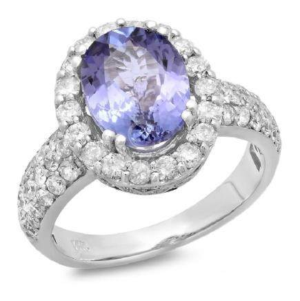14K Gold 3.00ct Tanzanite & 1.30ct Diamond Ring