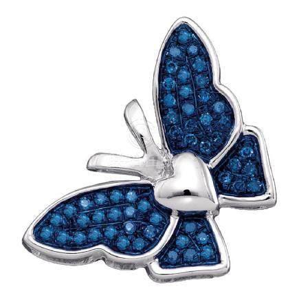 0.16 CTW Blue Color Diamond Butterfly Bug Pendant 10KT