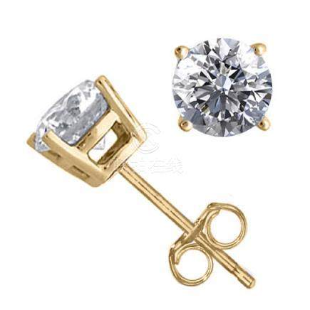 14K Yellow Gold 1.52 ctw Natural Diamond Stud Earrings