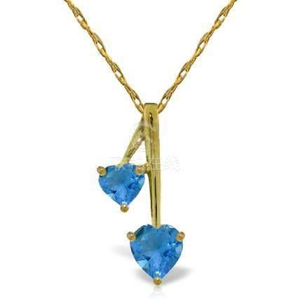 Genuine 1.40 ctw Blue Topaz Necklace Jewelry 14KT