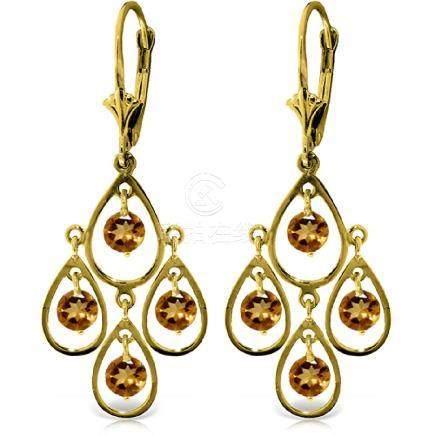 Genuine 2.4 ctw Citrine Earrings Jewelry 14KT Yellow