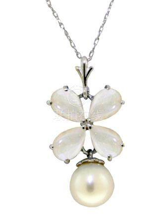 Genuine 3 ctw Opal & Pearl Necklace Jewelry 14KT White