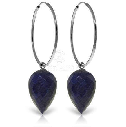 Genuine 25.8 ctw Corundum Earrings Jewelry 14KT White