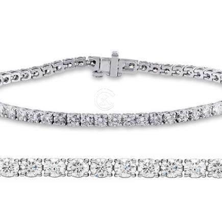 Natural 3ct VS-SI Diamond Tennis Bracelet 18K White