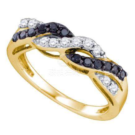 0.45 CTW Black Color Diamond Crossover Ring 10KT Yellow