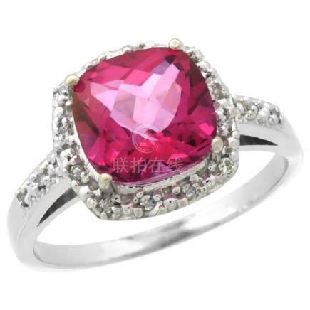 Natural 3.92 ctw Pink-topaz & Diamond Engagement Ring