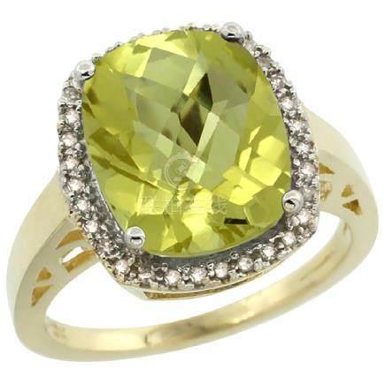 Natural 5.28 ctw Lemon-quartz & Diamond Engagement Ring