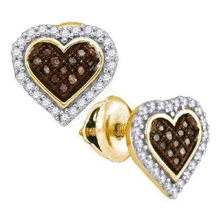0.25 CTW Cognac-brown Color Diamond Heart Cluster