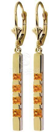 Genuine 0.70 ctw Citrine Earrings Jewelry 14KT Yellow