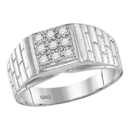 0.25 CTW Mens Diamond Square Cluster Brick Ring 10KT