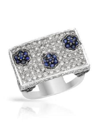 2.35 CTW Sapphire & Diamond Ring 14K White Gold -