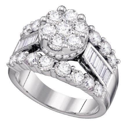 4 CTW Diamond Cluster Bridal Engagement Ring 14KT White