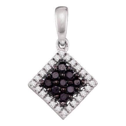 0.30 CTW Black Color Diamond Diagonal Square Pendant