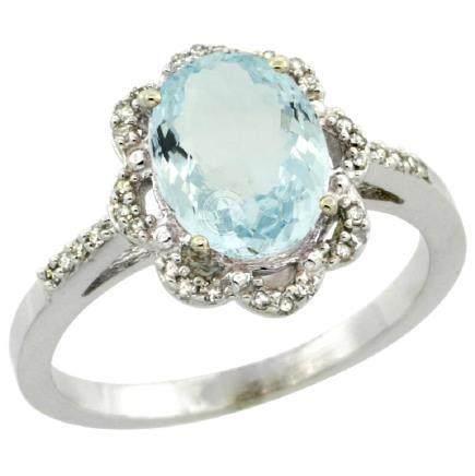 Natural 1.51 ctw Aquamarine & Diamond Engagement Ring