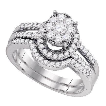 0.78 CTW Diamond Cluster Bridal Engagement Ring 10KT