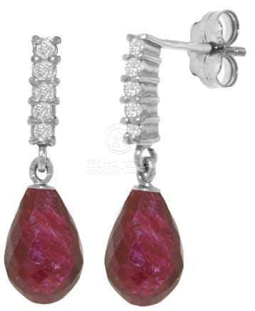Genuine 6.75 ctw Ruby & Diamond Earrings Jewelry 14KT