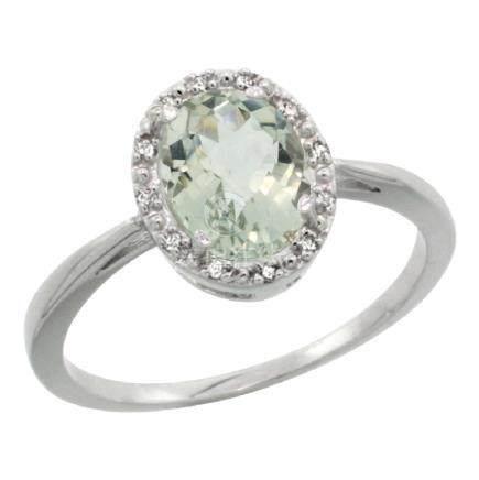 Natural 1.22 ctw Green-amethyst & Diamond Engagement