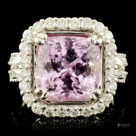 18K Gold 8.23ct Kunzite & 1.35ctw Diamond Ring