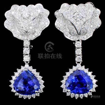 18K Gold 8.98ct Tanzanite & Diamond Earrings