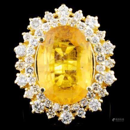 14K Gold 8.44ct Sapphire & 1.55ctw Diamond Ring
