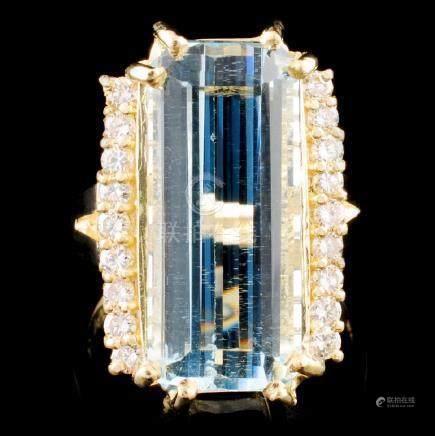 14K Gold 9.51ct Aquamarine & 0.50ctw Diamond Ring