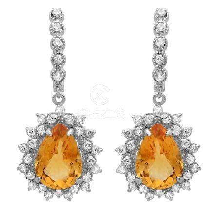 14K Gold 9.50ct Citrine & 1.50ct Diamond Earrings
