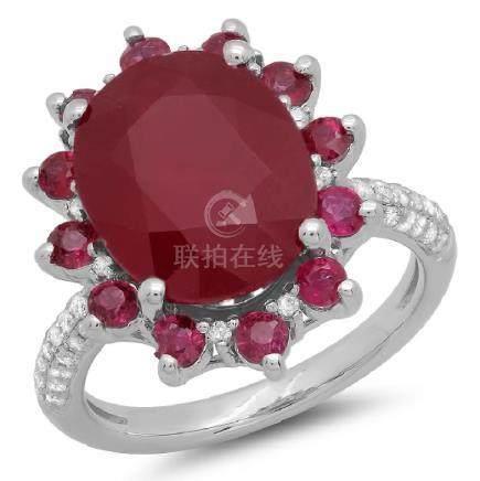 14K Gold 9.00ct Ruby & 0.30ct Diamond Ring