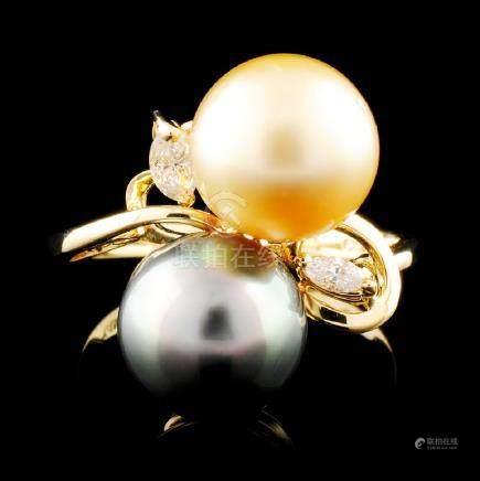 14K Gold 9.00MM Pearl & 0.10ctw Diamond Ring